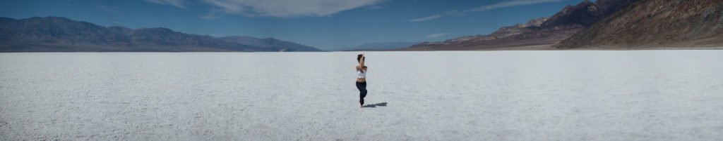 Ilona Barnhart in Eagle Pose in Death Valley National Park