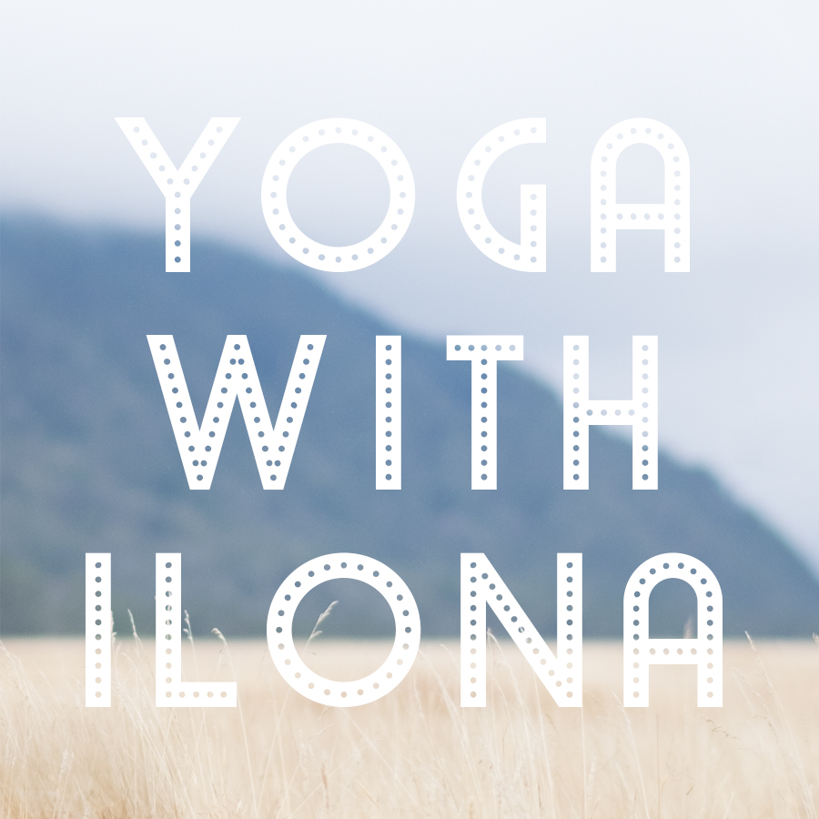 New Zealand landscape fog rolling over mountain top and gold grass letters Yoga with Ilona