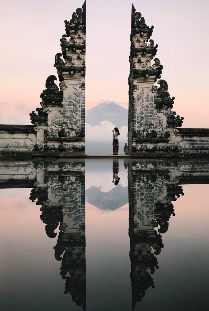 Ilona Barnhart in Bali Indonesia Pura Luhur Lempuyana Gate To Heaven Temple