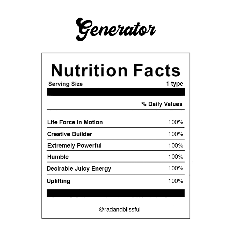 Human Design Generator Info Graph Nutrition Facts by Ilona Barnhart Rad And Blissful