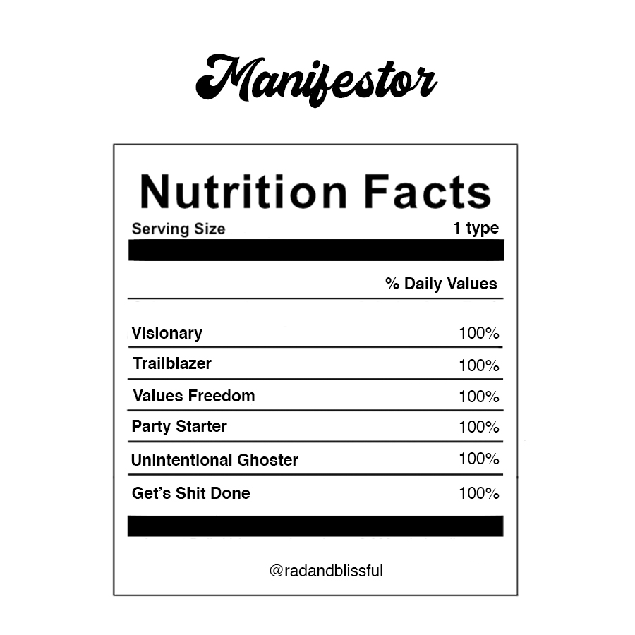 Human Design Manifestor Info Graph Nutrition Facts by Ilona Barnhart Rad And Blissful