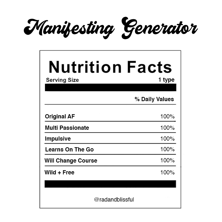 Human Design Manifesting Generator Info Graph Nutrition Facts by Ilona Barnhart Rad And Blissful