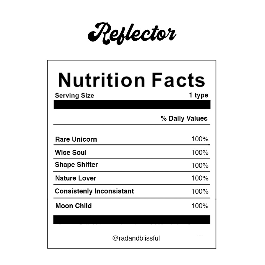 Human Design Reflector Info Graph Nutrition Facts by Ilona Barnhart Rad And Blissful