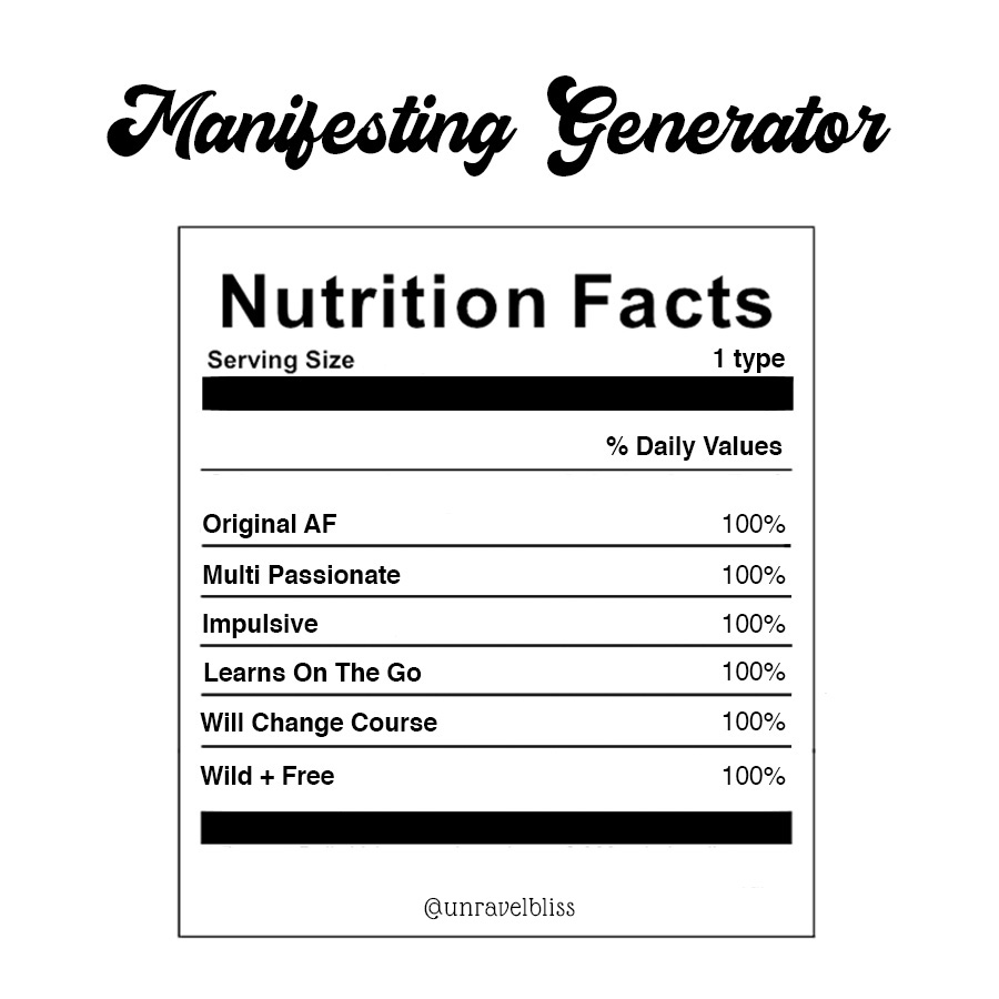 Manifesting Generator Aura Energy Type in Human Design Nutrition Facts